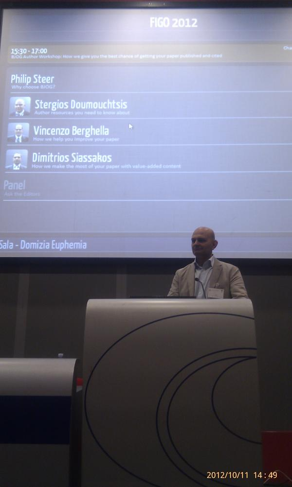 Our new Editor-in-Chief @Profkkhan chairs the #BJOG author workshop at #FIGO2012. He will be in post from 1st November http://t.co/G1E85wWk