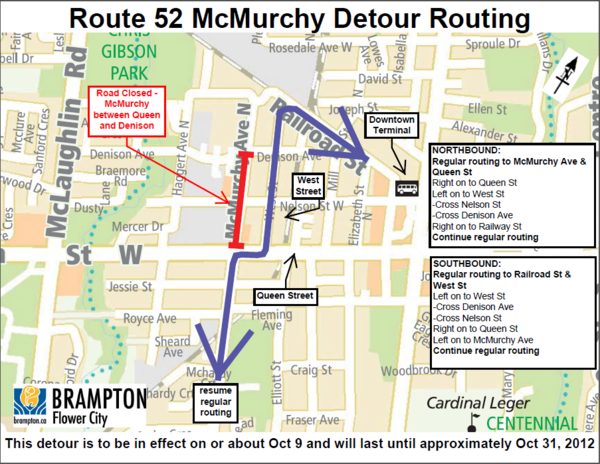 Brampton Transit on Twitter Route 52 McMurchy will be on temporary