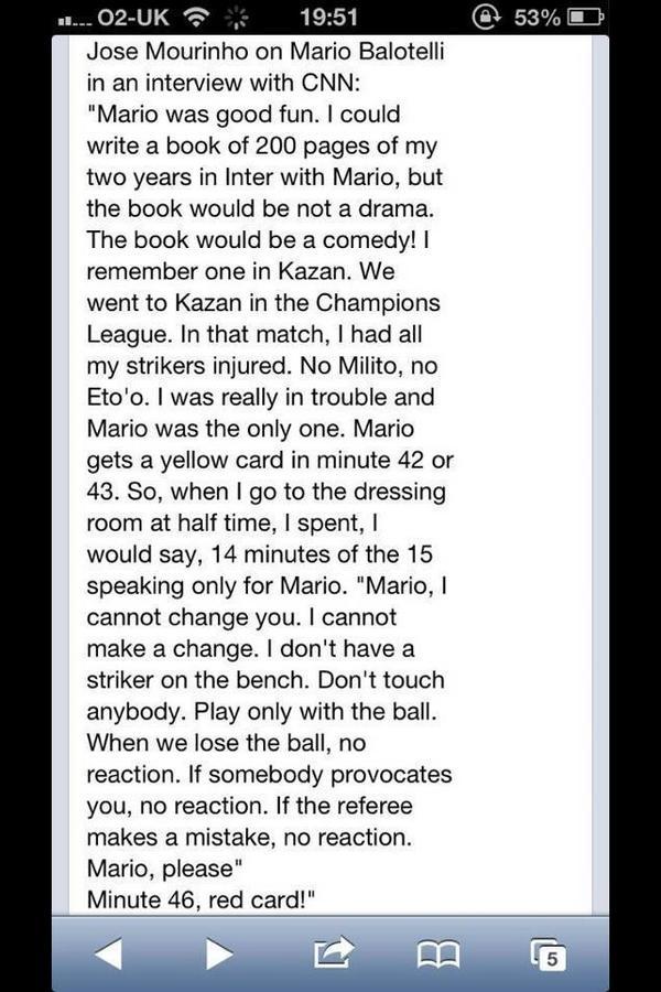 Jose Mourinho tells funny Mario Balotelli story to Pedro Pinto of CNN