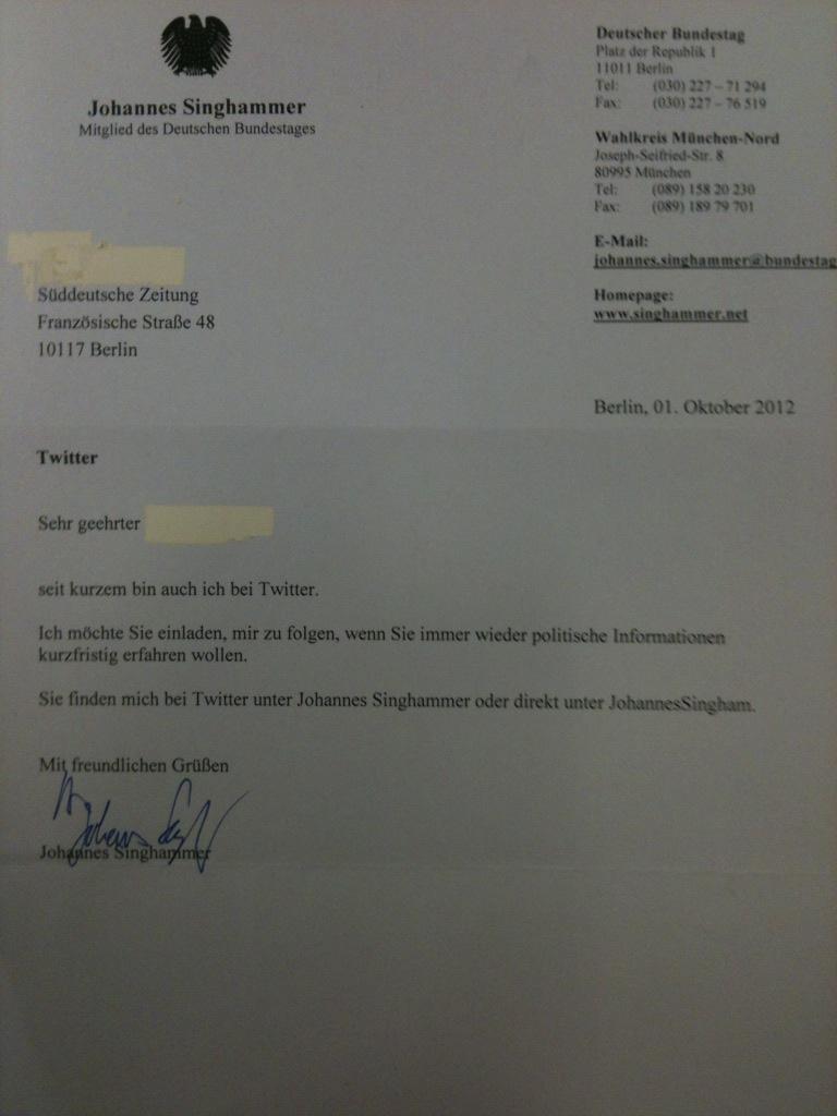 Johannes Singhammers Werbung für Follower auf Twitter per Brief