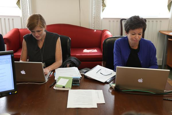 Photo: @vj44 & Samantha Power answer your questions about empowering women at home & abroad during @twitter #WHChat: http://pic.twitter.com/ipzVerDi