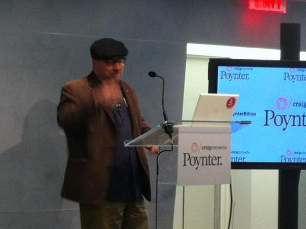 """I really am a nerd,"" says @craignewmark, who underwrote #PoynterEthics. http://pic.twitter.com/IsXQDJrU"