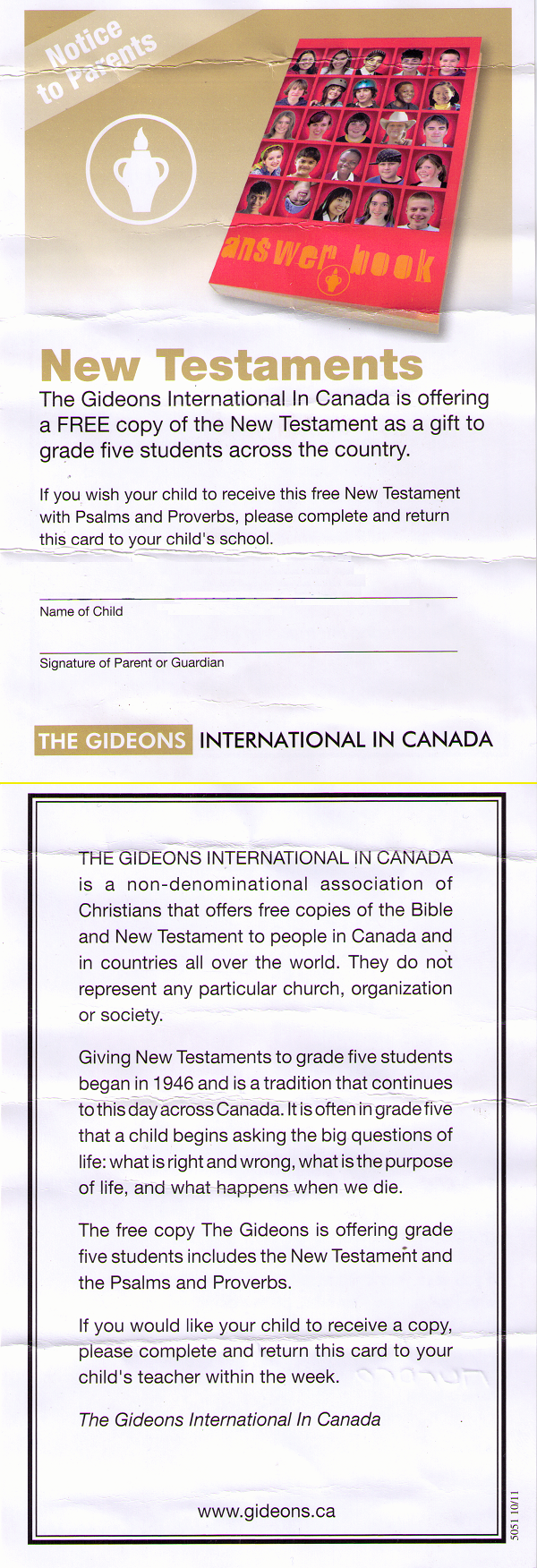 Gideon Bible pamphlet