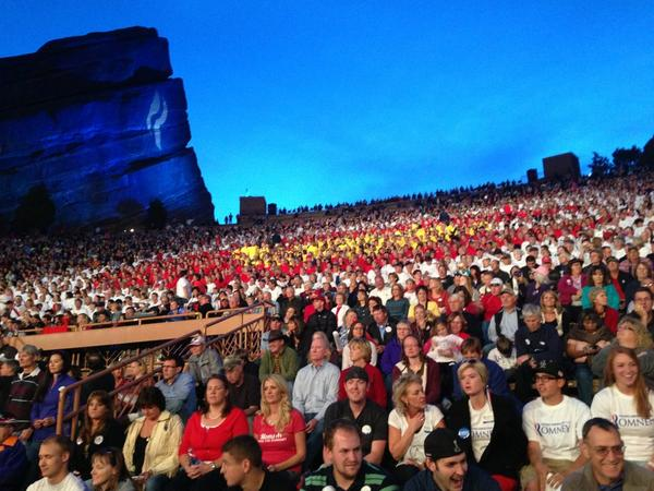 PHOTO: Red Rocks full w/ a line out to the parking lot. 10k+ to see @MittRomney & @PaulRyanVP . #COpolitics pic.twitter.com/TQVRbU6H