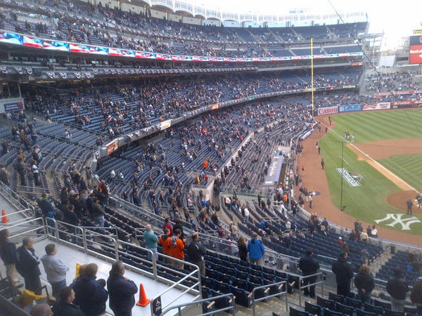 Yankee Stadium ALDS Game 5 crowd during the National Anthem (Photo credit: @DShulman_ESPN)
