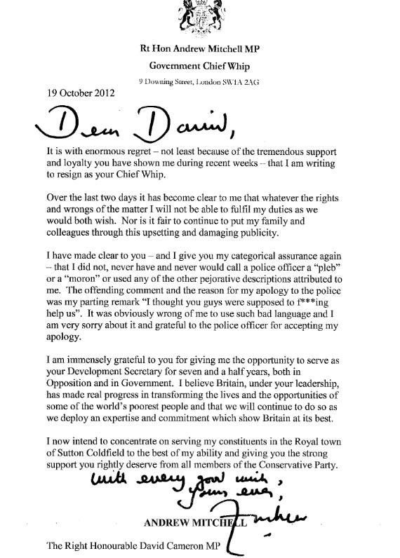 Andrew Mitchell's letter of resignation, 19 October 2012