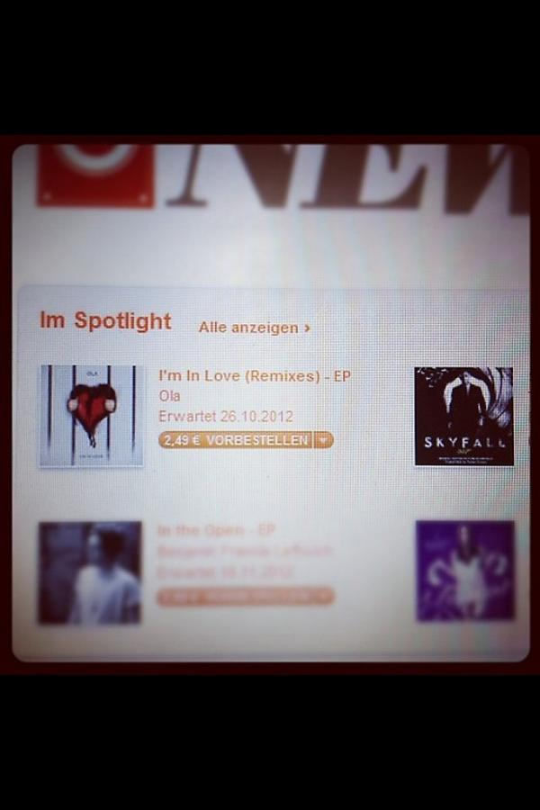 In the spotlight on #Itunes Germany with my remix for @ola_official !!! Let's do this!!! :) http://t.co/ZnKKFii5