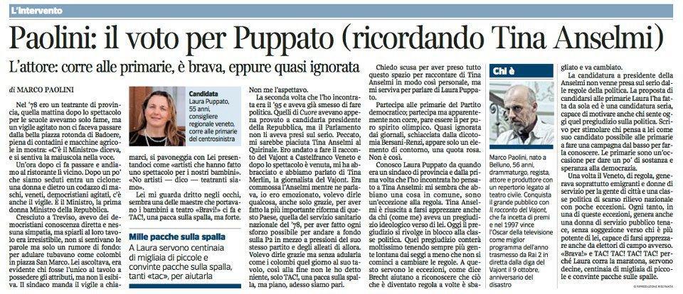 Marco Paolini su Laura Puppato