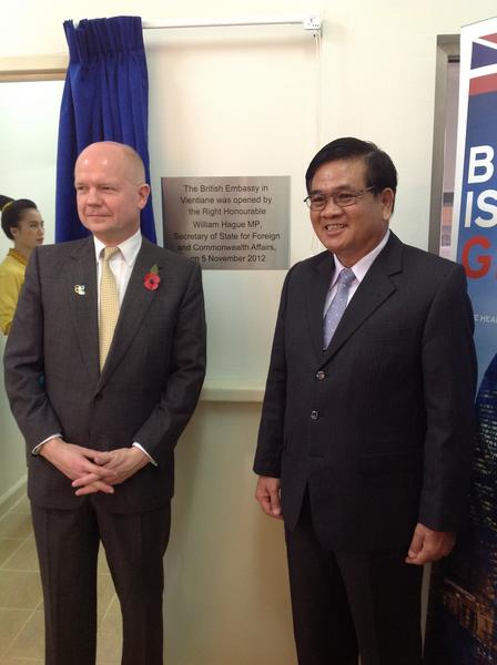 At the opening ceremony for the new British Embassy in Vientiane, Laos http://pic.twitter.com/G9B5NQsQ