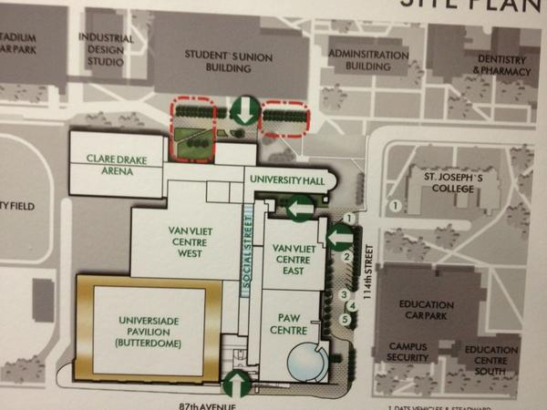 Map location of new #ualberta fitness (PAW) Centre. Ground breaking today. Opens 2014. #yeg http://pic.twitter.com/U9I9FS2q
