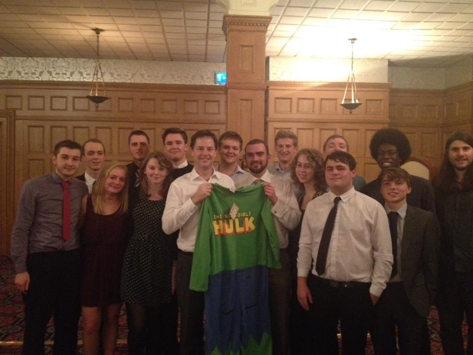 .@nick_clegg with @liberalyouth members in Sheffield with the Incredible Hulk onesie he won! http://t.co/APieqEaT