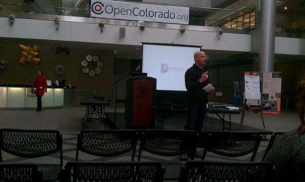 Denver CIO Chuck Fredrick speaking at @CityCampCO #ccCO pic.twitter.com/0fMdbqr3