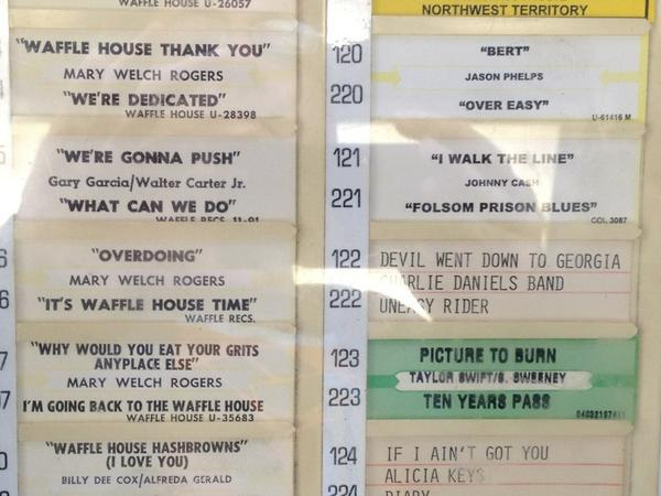 Awesome jukebox at Waffle House on I-35. #txbf trip off to a good start. http://pic.twitter.com/xgIvmEaA