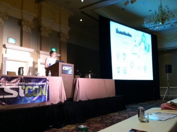 Fun fact: @saramayhew hand-drew all her slides. Talented lady, mind still hurts from trying to incept Inception #CSICON http://pic.twitter.com/Psxpuuzh