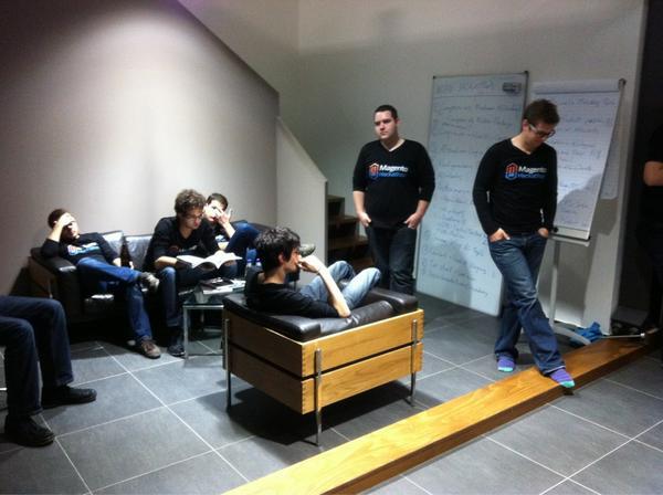 First status meeting in hackathon shirts