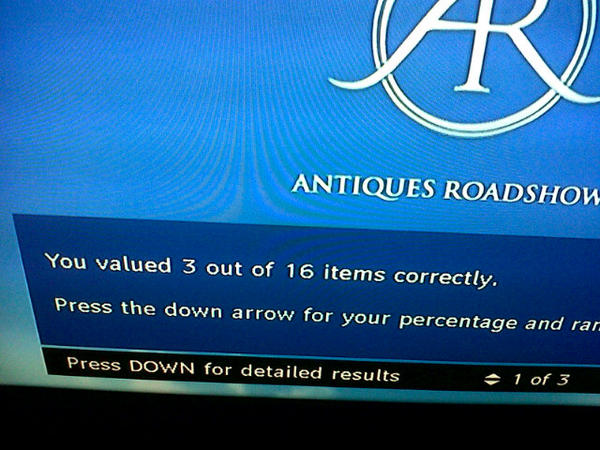 Success! #AntiquesRoadshow I'm a novice...good job my career is not in antiques valuation! http://pic.twitter.com/D74zw0XW