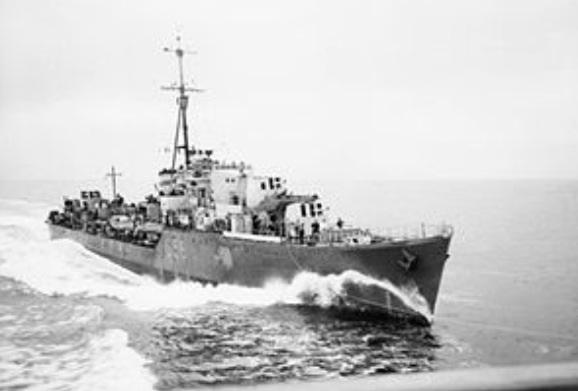 Grazier's ship, HMS Petard was patrolling with HMS Pakenham, Dulverton and Hurworth in the Mediterranean #grazier pic.twitter.com/LwJmu8pq