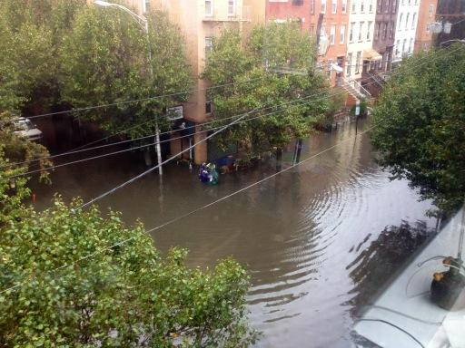 The new four-foot Hudson River outside my apartment in Hoboken: http://pic.twitter.com/hl9WivPm