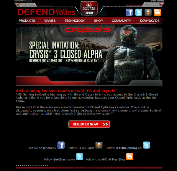 Amd Gaming On Twitter I Hope You Re A Subscriber To The Amd Gaming Evolved Newsletter Because We Re Giving Out Keys To The Crysis3 Alpha Http T Co Nen2z6cu