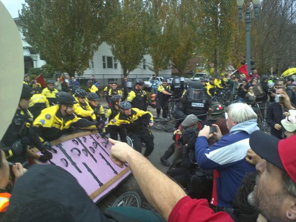 Pepperspray & riot cops.  Arrests possible.  #OccupyGresham #OPDX #N3 #NoAusterity http://pic.twitter.com/EgK3QdW3