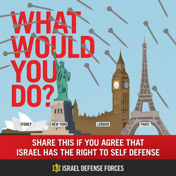 What would you do if rockets were striking your country? RT if you agree that #Israel has the right to self-defense.