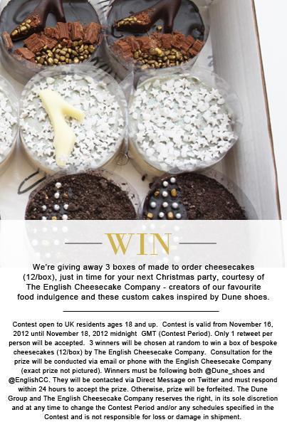 WIN 1 of 3 boxes of party-perfect bespoke cheesecakes. RT & follow @EnglishCC @Dune_Shoes #comp ends 18/11 midnight GMT http://t.co/mR9ZwvwA
