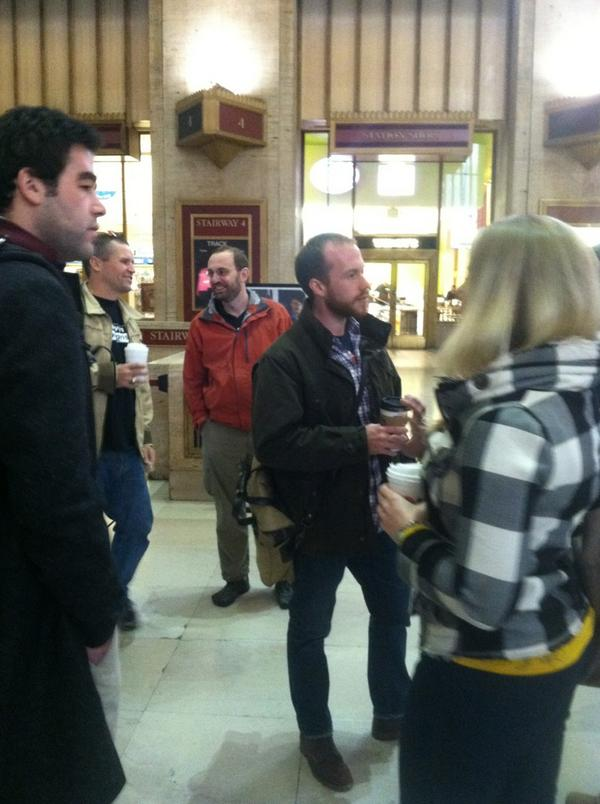 Have coffee will travel. RT @AndrewHazlett: About to stroll to our first stop #GOATPhilly http://pic.twitter.com/QfHBv04Y