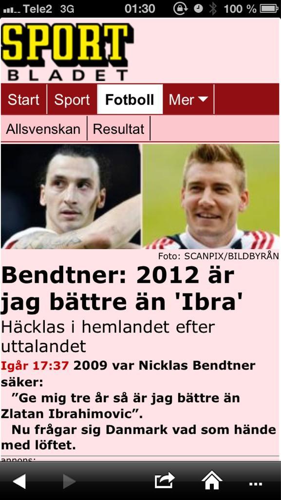 Bendtner 2012 ar jag battre an ibra