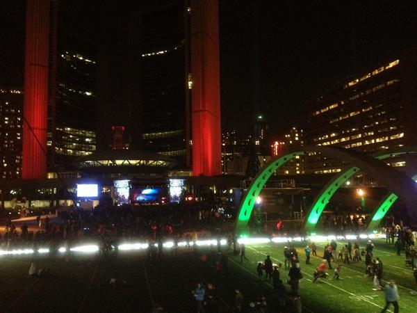 #CavalcadeOfLights #Toronto there's a football field at Nathan Philips Square! http://pic.twitter.com/lpX9S0in