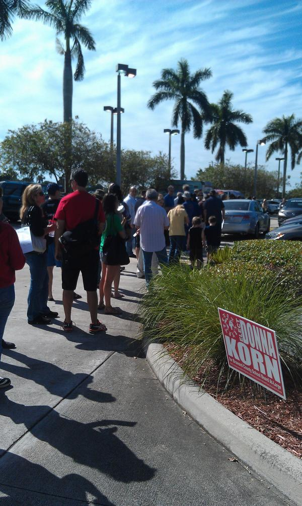 Florida is winning so far with the longest lines. RT @7SportsXtra: Long voting lines in Davie. http://pic.twitter.com/hjUaVMOL