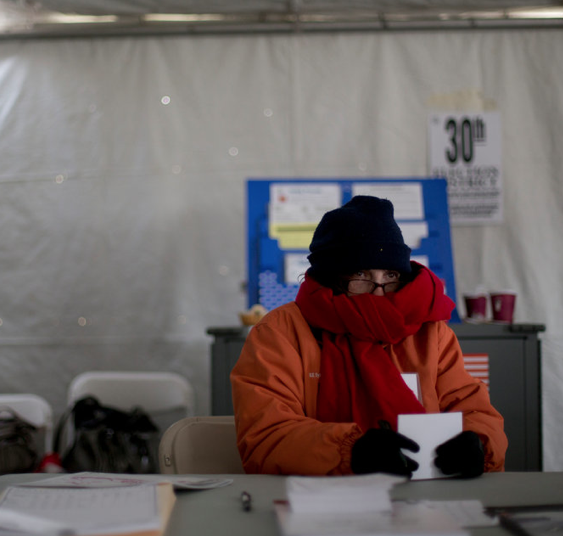 RT @nytjim: Very cold election clerk in powerless Staten Island polling station. http://nyti.ms/SXpjxL http://pic.twitter.com/kp1TkfkB