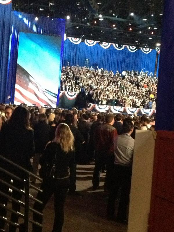 Obama supporters at McCormick Place await the president's victory speech. #ElectioNNN http://pic.twitter.com/wxgrw7cj