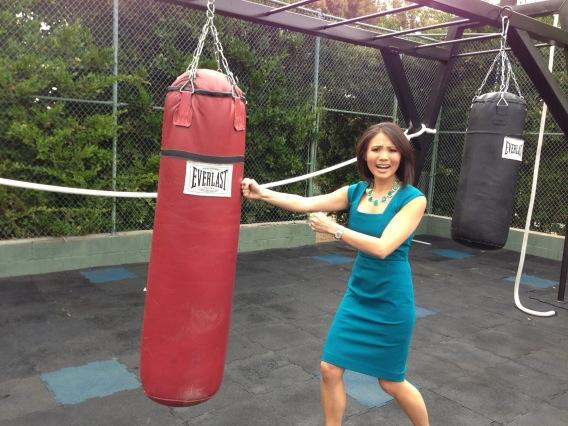 Training with the actual punching bags used on the Biggest Loser! @wcnc http://pic.twitter.com/fXBUJ4sx