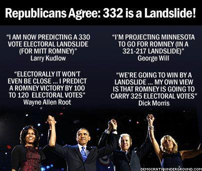 Image projecting a 332 electoral vote landslide in favor of Mitt Romney.