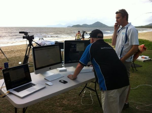 Check this beach set up. Total #solareclipse will be fed live from here http://www.ustream.tv/cairnseclipse2012 http://pic.twitter.com/2G5xmtGA