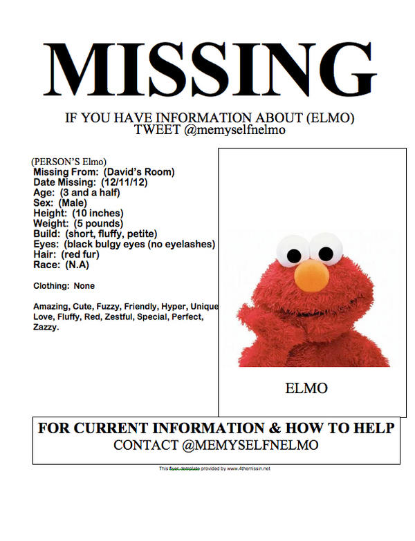 david barker on twitter findelmo missing elmo template please print out and share httptcoodzsrkfw - Cute Things To Print Out