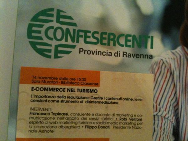 E-Commerce nel turismo se ne parla a #Ravenna #ecommercera http://pic.twitter.com/CIWB4eSV