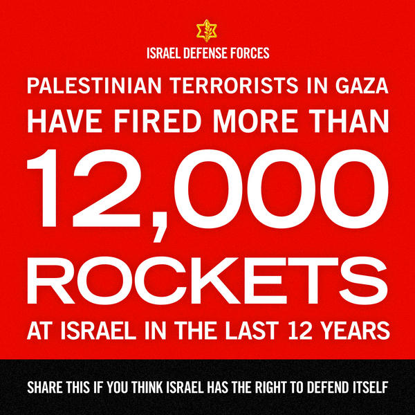 More than 12,000 rockets hit Israel in the past 12 years. RT if you think #Israel has the right to defend itself.