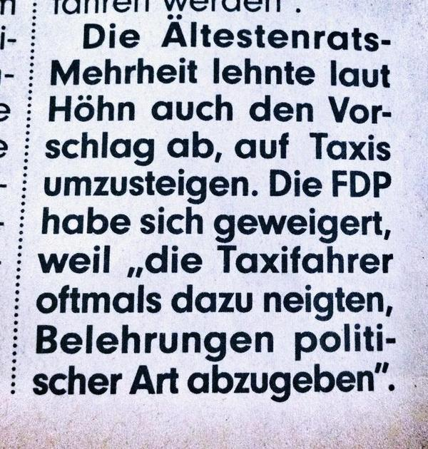 Die FDP und die Taxifahrer
