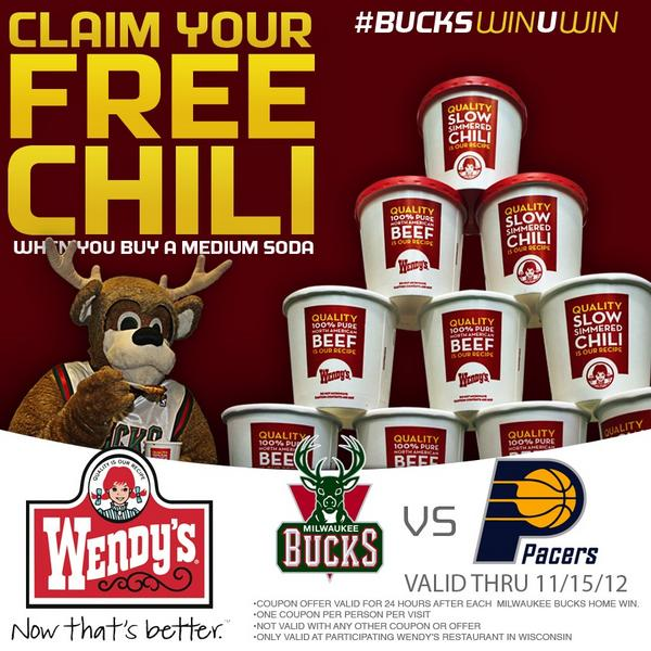 milwaukee bucks on twitter enjoy free chili from wendys today