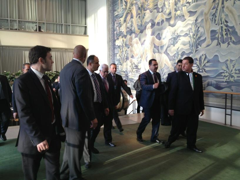 Mahmoud Abbas in the UN about to enter the General Assembly hall for the vote to upgrade status of Palestine to state - 29 November 2012