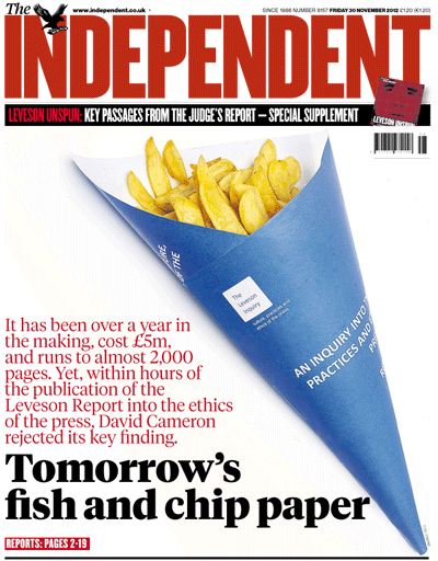 Tomorrow's chip paper - Cameron dismisses Leveson