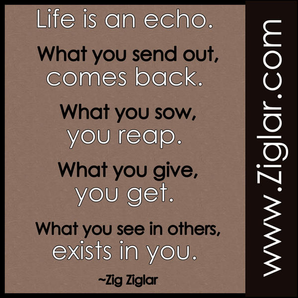 "Life Is An Echo Quote Enchanting Zig Ziglar On Twitter ""life Is An Echo Zig Ziglargreat Quote"