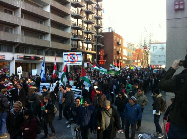 2012-11-18 13h50 [photo @frogsarelovely] We are more than a thousand in Montréal. From the river to the sea Palestine will be free