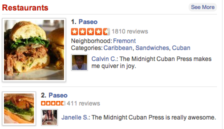 Two restaurants, ranked #1 & #2 on Yelp!  Well done Paseo, well done. http://t.co/jNWv6bJt