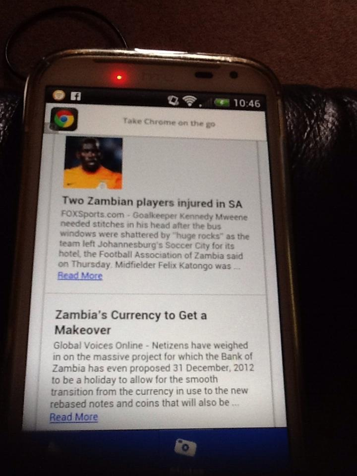 Screenshot of Zambia News Daily on a smartphone