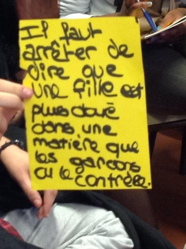 """""""@philippeliotard: pour faire avancer l'égalité, un message aux profs #LillePlanning2012 http://pic.twitter.com/QyO4XyTf""""bien vu!"""