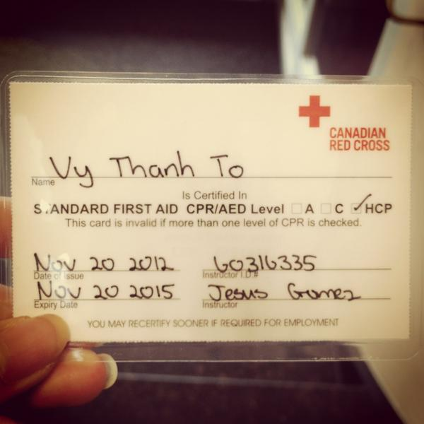 | now fully certified to save lives #perfectscore #redcrossCPR #happy http://pic.twitter.com/HHufCIuk