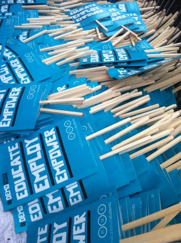 RT @nusuk: Did someone order LOADS of placards? #behindthescenes #demo2012 http://pic.twitter.com/tsDUEYGB