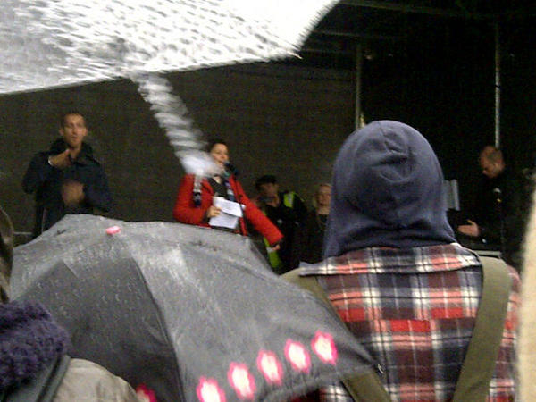 Josie Long is here! Excuse the awful rainy picture. #demo2012 http://pic.twitter.com/SLtBwhRK